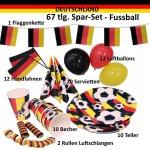 67 tlg. Spar-Set DEUTSCHLAND Fan Artikel WM EM Fußball- Teller Becher Fahne #kg