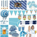 OKTOBERFEST PARTY Dekoration Deko Bayern Bavaria Wiesn blau weiss Raute Set