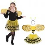3 tlg KINDER BIENEN SET kinder Kostüm Mädchen bis 7 Jahre Tiere Märchen Karneval