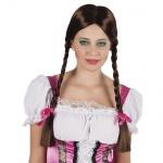 HEIDI PERÜCKE dunkelbraune Zöpfe Oktoberfest lang Langhaarperücke Bayern braun