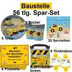 56tlg. Spar-Set BAUSTELLE Kinder Geburtstag Party - Teller Becher Trinkhalme DHK