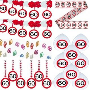 60. Geburtstag 18-teiliges Deko-Set VERKEHRSSCHILD - Girlande Ballone Abspe