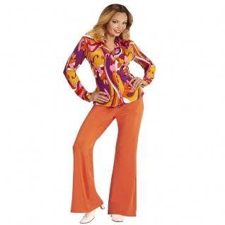 70er jahre damen schlaghose bluse orange kost m disco. Black Bedroom Furniture Sets. Home Design Ideas