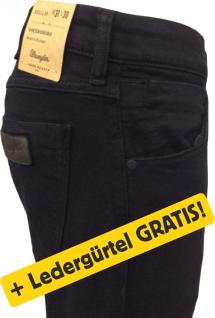 Wrangler- GREENSBORO -black + Ledergürtel GRATIS