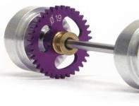 Hinterradachse Set Sidewinder 36Z ß19mm u.ß17, 3mm Alufelgen f.Scalextric u.ä.