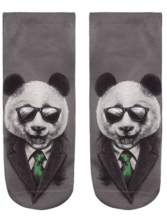 Sneaker Socken bedruckt Panda in Black - Vorschau 2