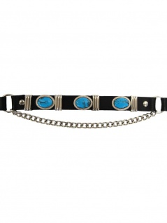 Leder Stiefelband Blue Stones oval