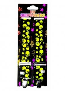 Hosenträger Totenkopf neon gelb schwarz - Vorschau