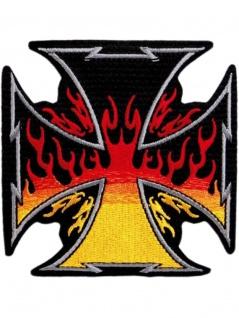 Aufnäher Eisernes Kreuz mit Flammen