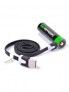 Akku mit USB 18650 USB Lithium Ion 3.6V 3.400mAh