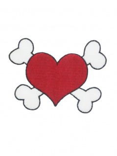 Aufbügler Herz mit Knochen