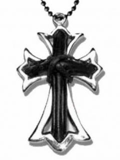 Halskette Kreuz mit Ledereinsatz schwarz