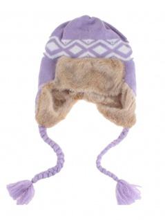 Tschapka Wintermütze mit Kunstfell lila