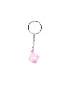 Schlüsselanhänger rosa Würfel weißen Punkte