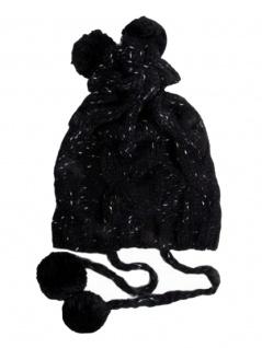 Woll Strickmütze schwarz mit 4 Bommeln