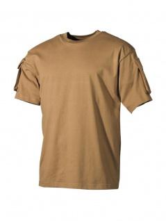 US Militär T-Shirt coyote mit Ärmeltaschen