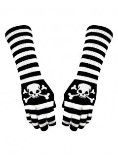 Fingerlose Stulpenhandschuhe weiß schwarz gestreift Pirat