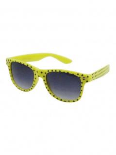 Sonnenbrille 50er Rockabilly Style neon gelb Punkte