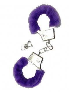Handschellen mit Fell lila