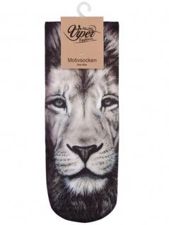 Sneaker Socken bedruckt Löwenkopf schwarz weiß