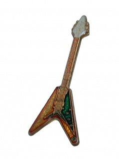 Anstecker Pin E-Gitarre gelb grün