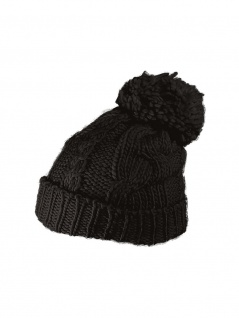 Slouch Long Winter Mütze schwarz Bommel