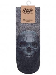 Sneaker Socken bedruckt Skull schwarz weiß