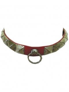 Leder Halsband Pyramiden Nieten mit Ring
