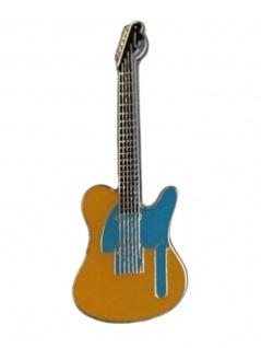 Anstecker Pin E-Gitarre gelb blau