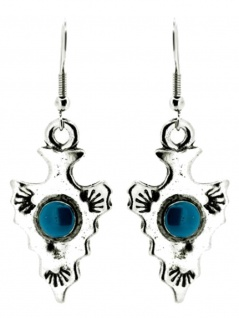 Ohrring Pfeilspitze mit Stein blau