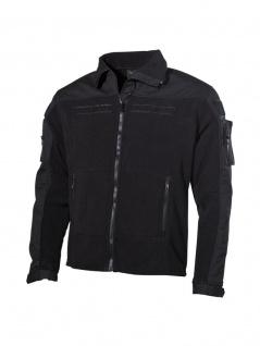 Fleece Jacke schwarz mit Rip Stop Besatz