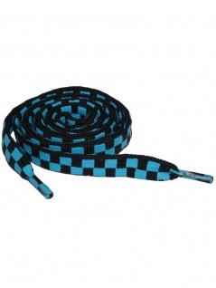 Schnürsenkel Schachbrettmuster blau schmal