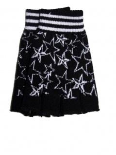 Fingerlose Handschuhe Sterne schwarz weiß