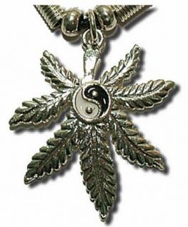 Halskette Yin Yang mit Hanfblatt