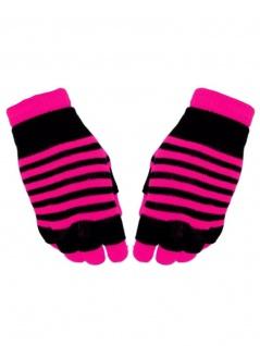 Multi Handschuhe neon pink gestreift 2 in 1