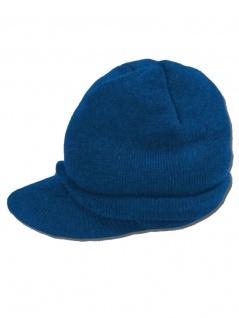 Beanie Strickmütze dunkelblau mit Schirm