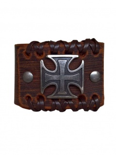 Leder Armband Iron Cross braun