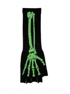 Fingerlose Stulpenhandschuhe Skelett grün