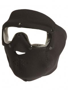Gesichtsschutz Neopren schwarz mit Brille klar