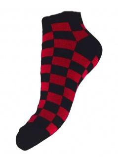 Sneaker Socken schwarz rot kariert