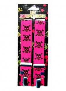 Hosenträger Totenkopf neon pink