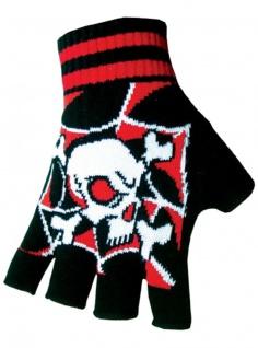 Fingerlose Handschuhe Killer Totenköpfe rot
