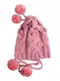 Woll Strickmütze pink mit 4 Bommeln