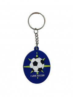 Schlüsselanhänger I Love Soccer blau aus Gummi