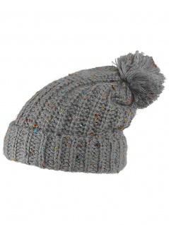 Slouch Long Winter Mütze grau bunt Bommel