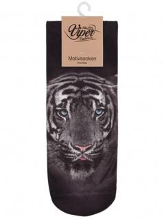 Sneaker Socken bedruckt Tiger schwarz weiß