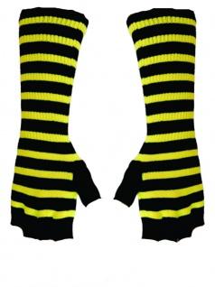 Fingerlose Stulpenhandschuhe schwarz gelb gestreift