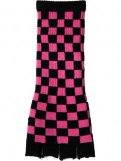 Fingerlose Stulpenhandschuhe schwarz pink kariert
