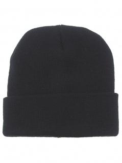 Strickmütze Wolle fein gestrickt schwarz