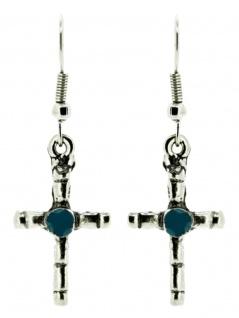 Ohrring Crucifix mit Stein blau